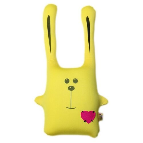 Подушка-игрушка антистресс Штучки, к которым тянутся ручки Заяц Ушастик желтый 43 см