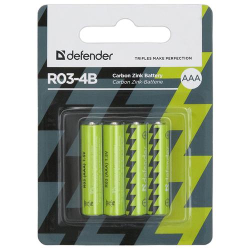 Батарейка Defender солевая AAA R03 4 шт блистер