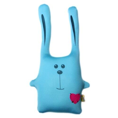 Подушка-игрушка антистресс Штучки, к которым тянутся ручки Заяц Ушастик голубой 43 см