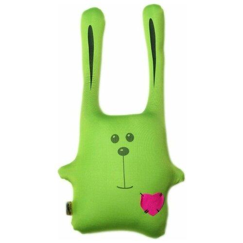 Подушка-игрушка антистресс Штучки, к которым тянутся ручки Заяц Ушастик зеленый 43 см