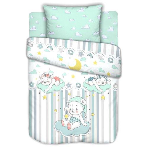 Текстильная лавка комплект в кроватку Сонные мишки (3 предмета) голубой