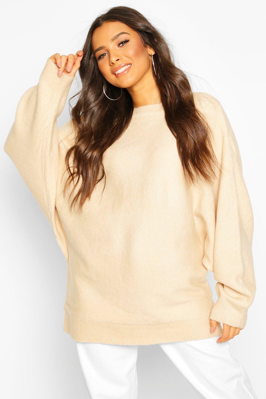 Вязаный свитер оверсайз с объемными рукавами «летучая мышь»