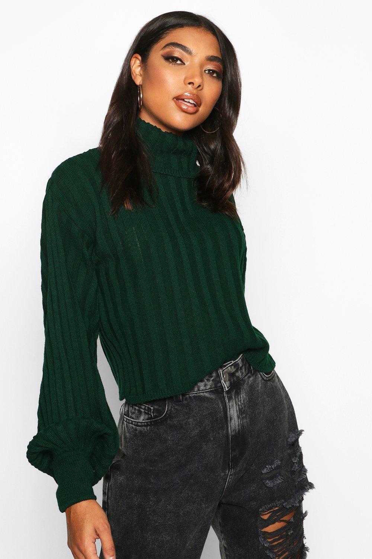 Из коллекции «TALL»— Вязаный свитер с объемными рукавами с подвернутой горловиной