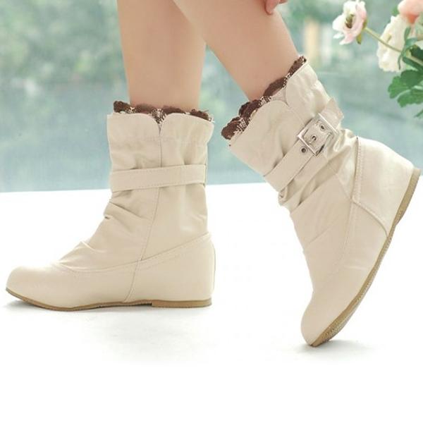 Размер США 5-13 скольжения на круглый носок лодыжки короткие случайные Ботинки для Женское