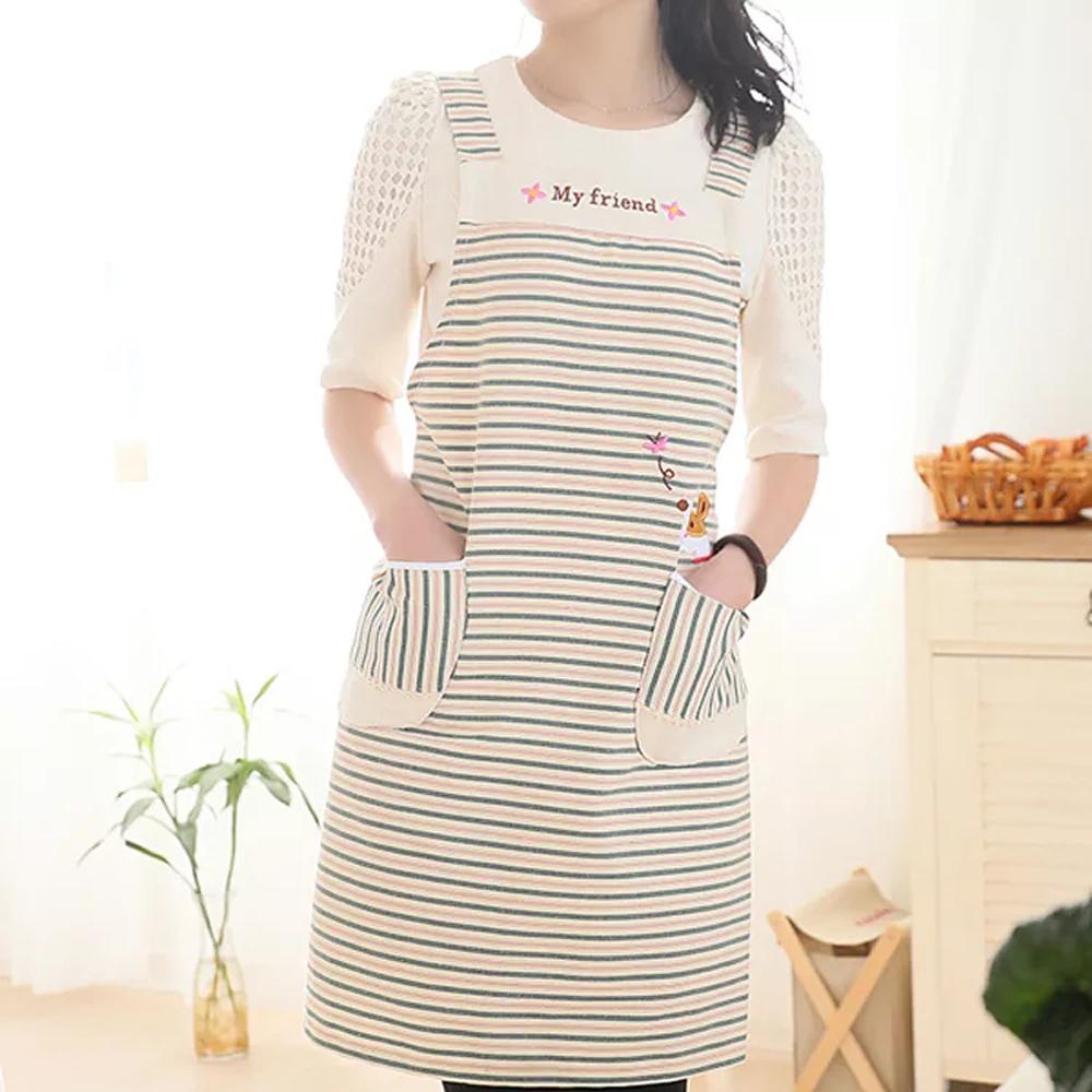 Бытовая кухонная мода женщин предотвращение масло полиэстер рукавов полосатый холст фартук