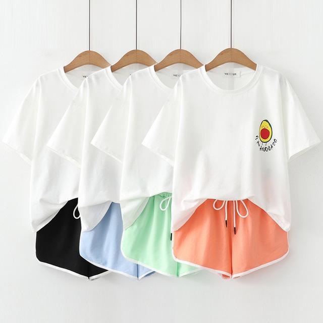 Сладкий сезон новый колледж ветер случайный авокадо принт футболка с короткими рукавами эластичный пояс кружевной шорты костюм Женское