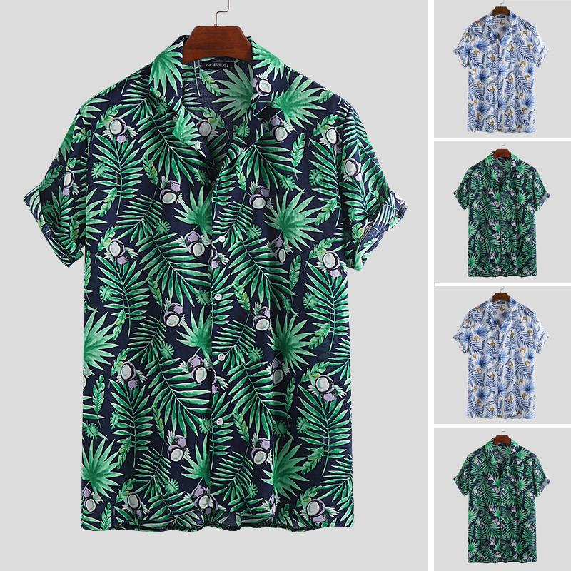 Мужские Пляжный случайные свободные рубашки с коротким рукавом гавайские Пляжный кнопка блузка праздник