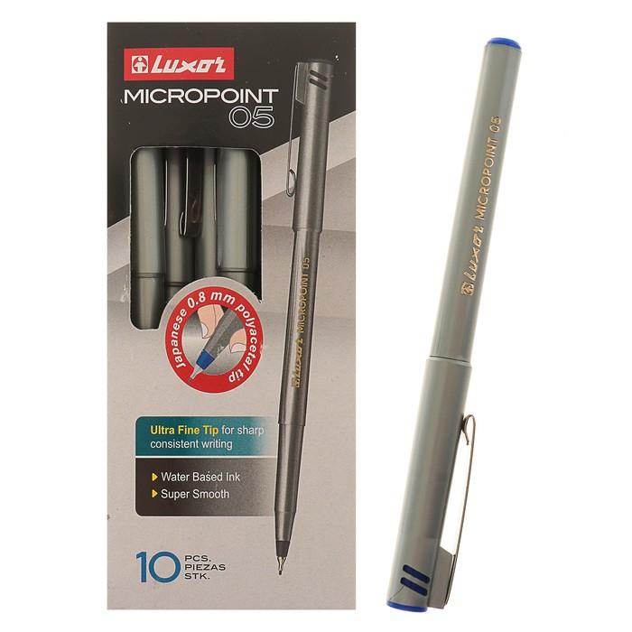 Ручка капиллярная Crown Micropoint, узел 0.5 мм, чернила синие, одноразовые