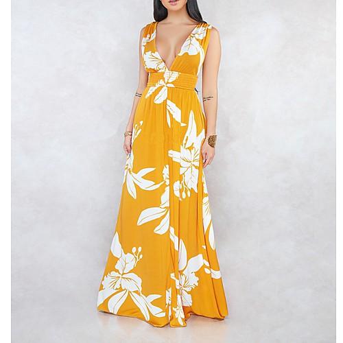 Женское платье макси-свинг с v-образным вырезом желто-зеленый s m l xl