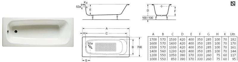 Характеристики ROCA Continental (170 на 70)