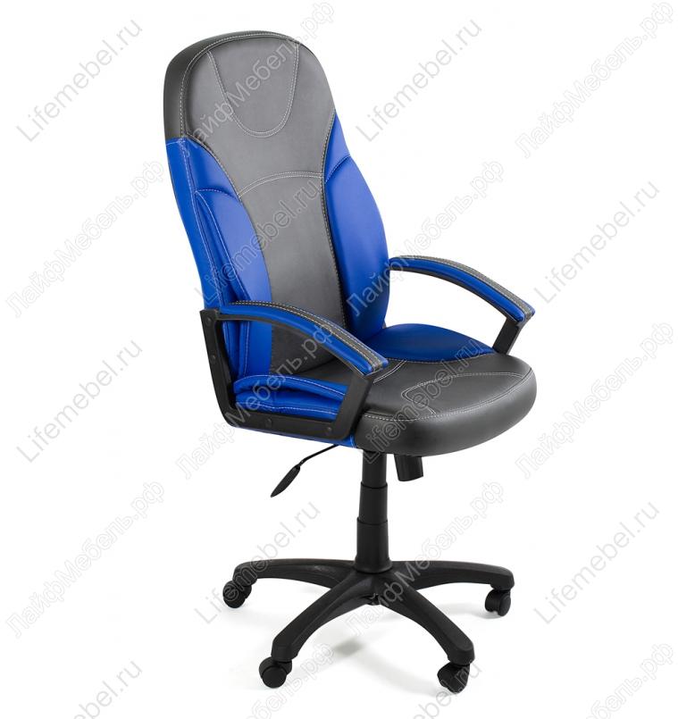Компьютерное кресло «Твистер» (Twister) металлик (серое) / синее
