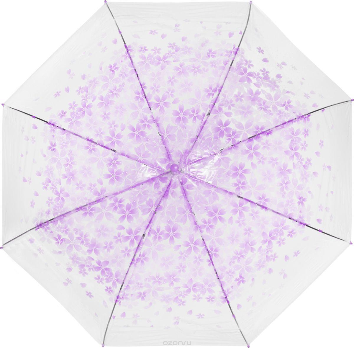 Зонт женский Эврика, цвет: прозрачный, розовый. 97507