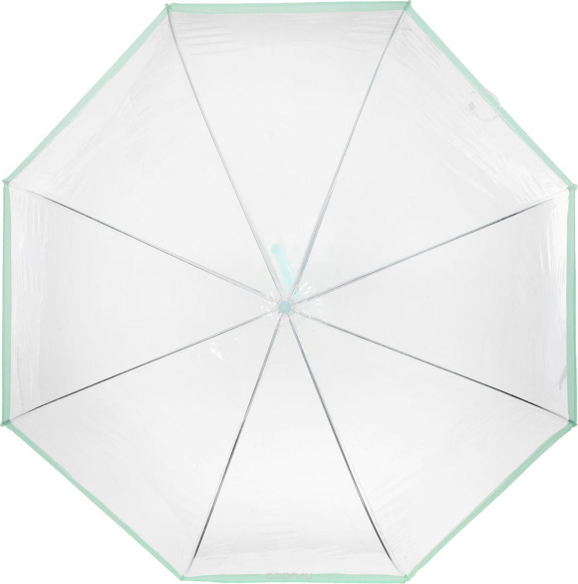 Зонт женский Эврика Прозрачный купол, цвет: прозрачный, салатовый. 94863