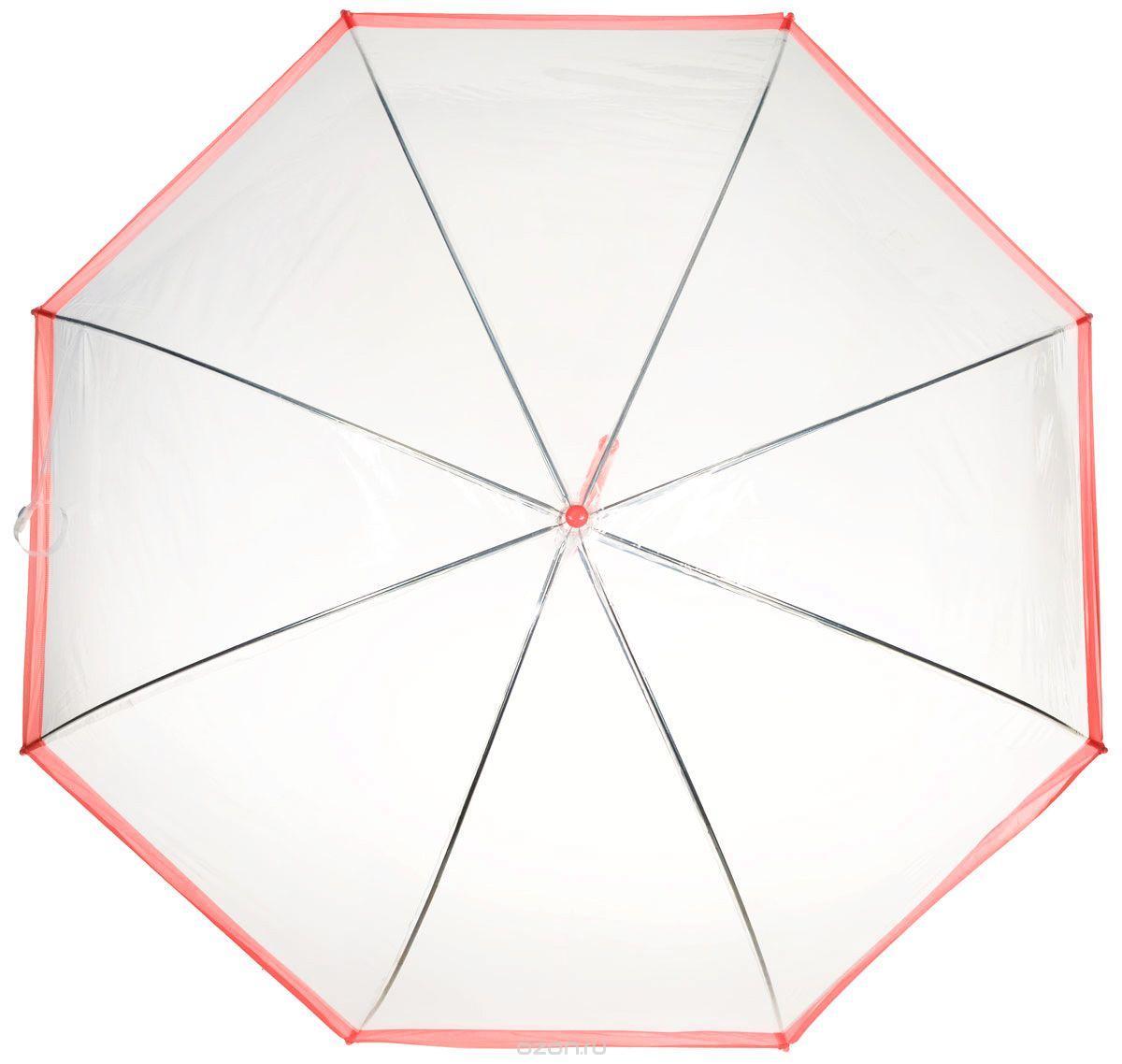 Зонт-трость женский Эврика, механика, цвет: прозрачный, красный. 94291