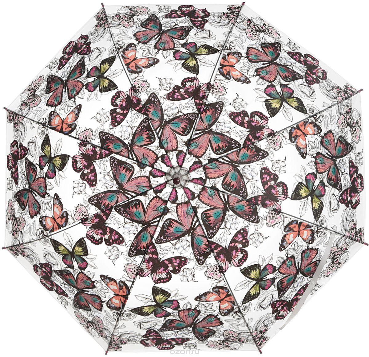 """Зонт женский Эврика """"Бабочки"""", цвет: вишневый, серый. 97850"""