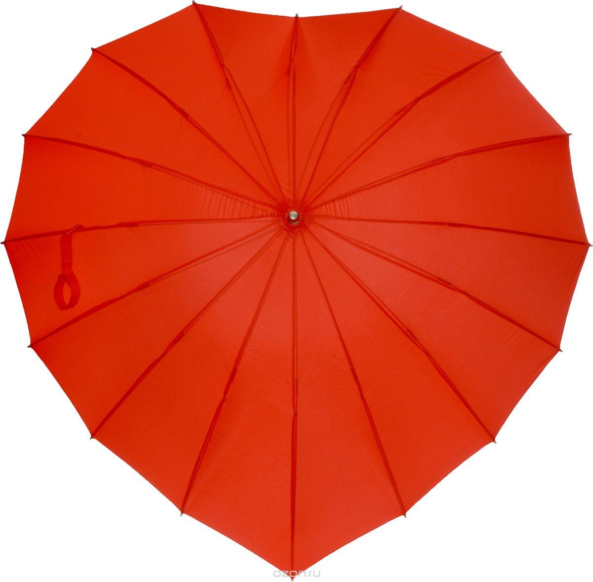 """Зонт женский Эврика """"Сердце"""", механика, трость, цвет: красный. 93160"""