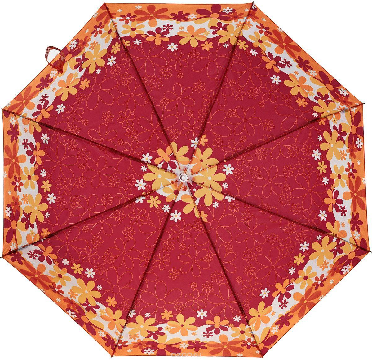 Зонт женский Prize, механический, 3 сложения, цвет: красный, оранжевый. 355-416